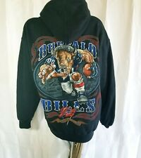 Official NFL Mens Black Buffalo Bills Long Sleeve Pullover Hoodie Sweatshirt L