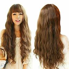 Light Brown Ladies Wig Synthetic Hair Long Curly Wave Wigs Like Real Hair