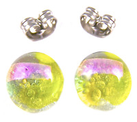 """DICHROIC Post EARRINGS 1/4"""" 7mm Clear Yellow Gold Pink Tiny Fused GLASS STUD"""