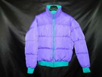 Vintage 90s Columbia L Mens Purple Blue Down Puffer Jacket Reversible Coat Waist