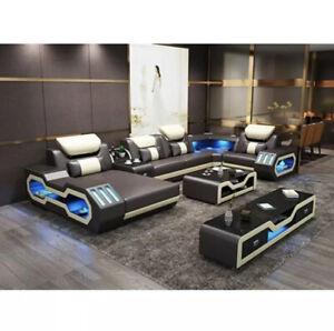 Leather Sofa Set, Modern, Led Lights,