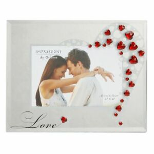 """Red Love Heart Crystals 6x4"""" Glass Photo Frame Engagement Couples Picture Gift"""