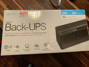 NIB APC Battery Back-Ups Surge Protector 650 VA/360 Watts 7 Outlets 1 USB