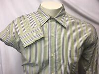 Lucky Brand Men's Green Striped Shirt sz L Button Front 100% Cotton Long Sleeve