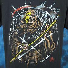 vintage 80s GRIM REAPER PAPER THIN T-Shirt M/L pentagram skeleton satan biker