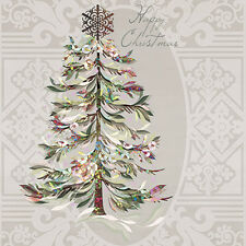 Christmas 20 Paper Lunch Napkins CRYSTAL TREE - Delicate Elegant Beige