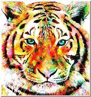 "Beautiful Abstract Tiger watercolor Art Canvas Print 36"" X 24"" watercolour"