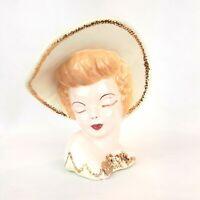 Vintage LADY Head Hat Porcelain Statue Vase 1958 Signed