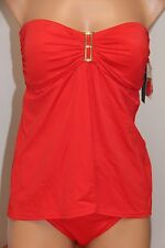 NWT Tommy Hilfiger Swimsuit Tankini 2pc Set Sz M Tomato Fly Away Strapless