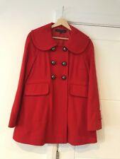 Ladies French Connection Red Double Breasted Wool Swing Coat Size 8