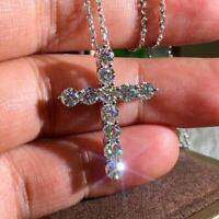 1.50Ct Round Cut VVS1/D Diamond Cross Pendant 14K White Gold Finish Free Chain