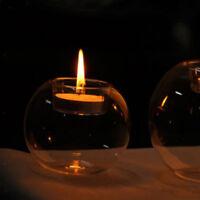 5x Romantic Glass Candle Holder Tealight Candlestick Wedding Home Decor 8cm