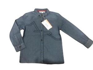 New Ex Angel & Rocket Dark Blue Cotton AR Logo Long Sleeve Shirt 3-10yrs RRP£30