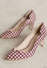NEW Anthropologie Guilhermina Scalloped Pumps Size 7 Wine Houndstooth