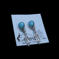 PETITE .925 Sterling Silver Natural Turquoise Feather Dangle Post Earrings