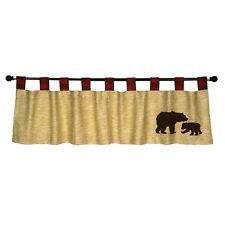 Window Valance Curtain Red Tan Bear Wildlife Decor Rustic Cabin Lodge Gift New