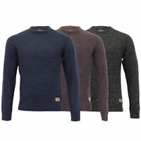 Mens Wool Mix Jumper Threadbare Cable Knitted Sweater Pullover Top Casual Winter