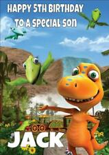 DINOSAUR TRAIN PERSONALISED BIRTHDAY CARD - ANY NAME AGE RELATION