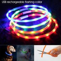 USB Rechargeable Pet Dog Collar LED Flashing Light Up Safety Belt Waterproof.UK