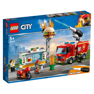 Lego 60214 City Burger Bar Fire Rescue Building Playset Fire Engine box has wear
