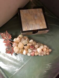 polished tumbled stone grapes metal leaves wine grapes