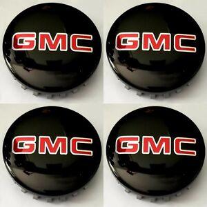 "4pcs GMC BLACK/CHROME Wheel Center Caps 83mm 3.25"" Sierra Yukon Denali 2014-20"