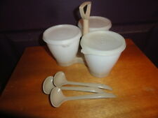 Set of 3 Tupperware Opaque/White/Sheer Bowls, Lids & Spoons w/1-Carrying Caddy