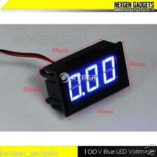 Digital LED Voltmeter Panel Volt DC 0 - 100V Voltage Meter BLUE 3 Wire