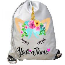 Personalised Unicorn Face Girls Sport Gym School PE Swim Ballet Dance Bag!