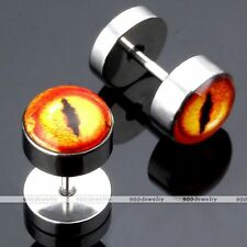 Pair Stainless Steel Dragon Snake Eye Fake 0G Cheater Ear Stud Earlet Earring