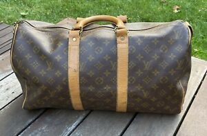 AUTHENTIC LOUIS VUITTON Monogram Keepall Vintage USA French Luggage Duffle Bag
