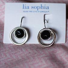RV$24 lia sophia jewelry drop Haywire Earrings w/ Black Stones silver tone