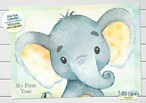 Yellow Elephant Baby's First Year Calendar, Personalized Calendar for baby