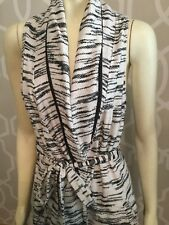 Astars Wrap Dress Size M Black White Sleeveless Vest 100% Cotton Pockets Euc