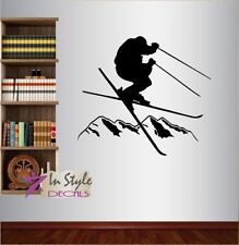 Wall Vinyl Decal Skiing Man Skier Mountains Ski  Extreme Sports Art Sticker 1288