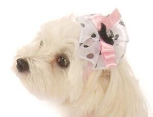 Dog Puppy Head Bow - Pink Satin & Chiffon - Doggie Design - 16-30 lb