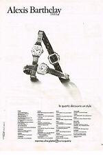 PUBLICITE ADVERTISING   1979   ALEXIS BARTHELAY    collection montres