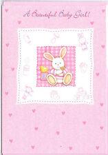 A Beautiful Baby Girl Card. Baby Bunny & Glitter.