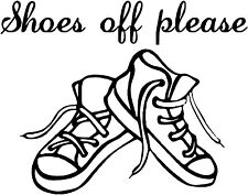 Shoes off please vinyl decal, lobby room sticker