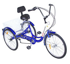 "3-Wheels Trike 24"" Adult Tricycle 7-Speed Shimano w/ Basket Blue Bicycle GREAT"