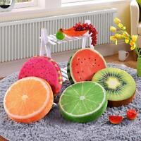 3D Fruit Soft Round Pillow Plush Cushion Orange Watermelon Seat  Pads Decor EH