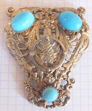 broche ancienne métal argenté perles turquoise brooch