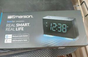Emerson ER100301 Smartset Alarm Clock Radio Bluetooth Speaker with USB ports NEW