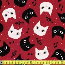 Japan Import Fabric Disco Cat Red PER METRE Cat Kitten Music Musical Musician Pu