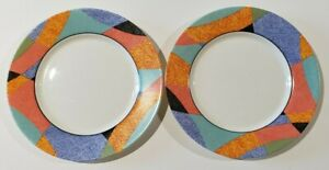 """Santiago by Arcopal France TWO Dinner Plates 10-7/8"""" Abstract Colorful"""