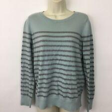 Ann Taylor LOFT Outlet sweater Womens Medium thin knit blue silver striped
