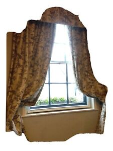 French Style Ticking Handmade Curtains and Pelmet
