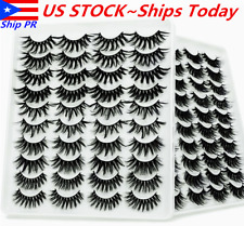 💕8/10/20 Pair 3D Natural Bushy Cross False Eyelashes Mink Hair Eye Lashes Black