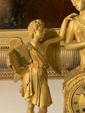 """Grande pendule en bronze ciselé et doré d'époque Restauration à décor de """"Psyché"""