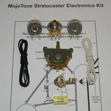 MojoTone Stratocaster Wiring Kit CTS Pots Mojo Dijon Cap Cloth Wire Treble Bleed
